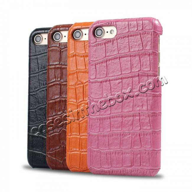 low price Crocodile Pattern Genuine Real Leather Back Case Cover for iPhone 8 4.7inch - Hot Pink
