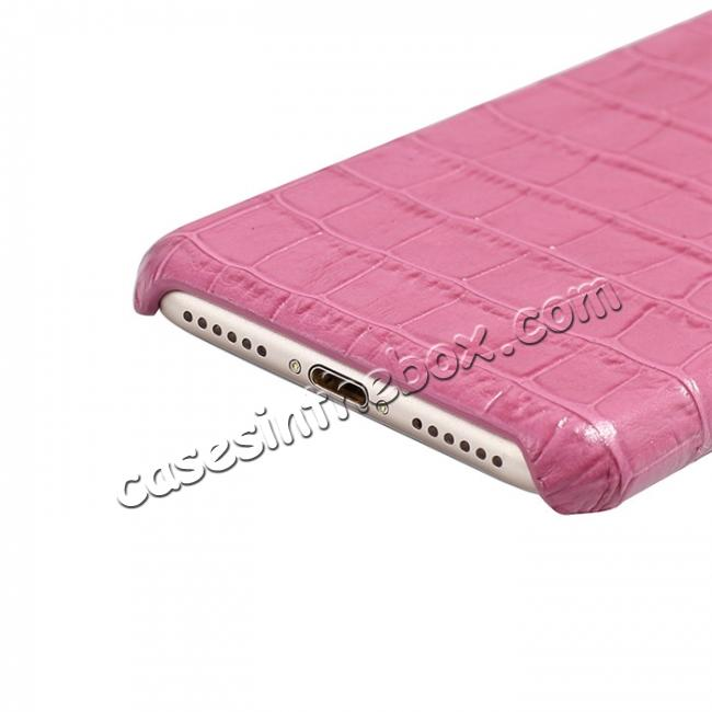 on sale Crocodile Pattern Genuine Real Leather Back Case Cover for iPhone 8 4.7inch - Hot Pink