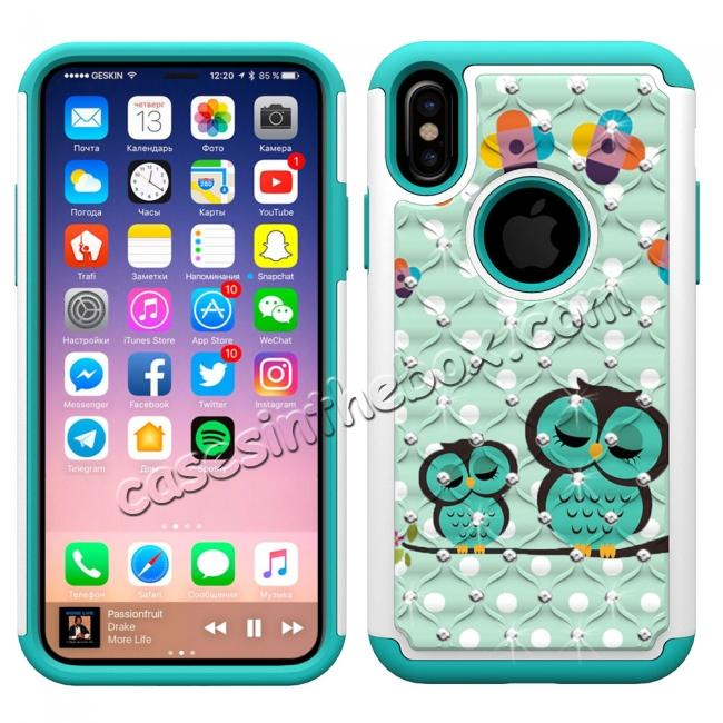discount Crystal Bling Diamond Hybrid Armor Defender Dual Layer Shockproof Case Cover for iPhone X - Owl