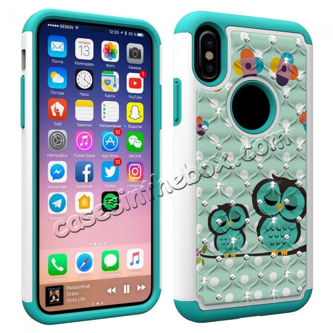 cheap Crystal Bling Diamond Hybrid Armor Defender Dual Layer Shockproof Case Cover for iPhone X - Owl