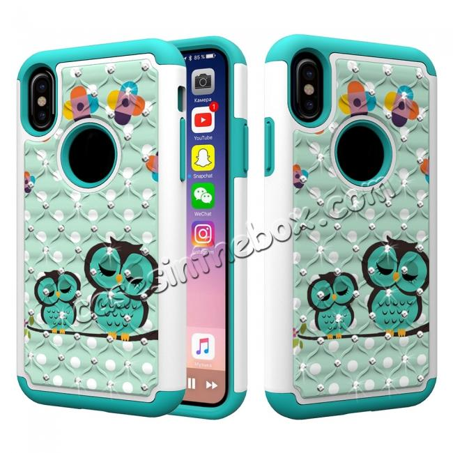 wholesale Crystal Bling Diamond Hybrid Armor Defender Dual Layer Shockproof Case Cover for iPhone X - Owl