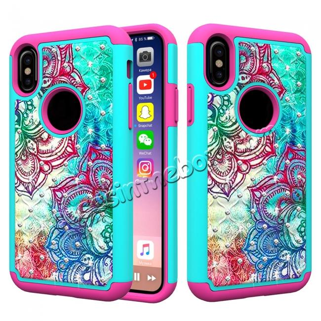 wholesale Crystal Bling Diamond Hybrid Armor Defender Dual Layer Shockproof Case for iPhone X - Teal Flower