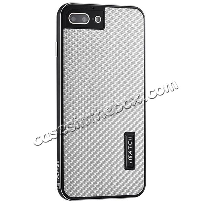 wholesale Deluxe Metal Aluminum Frame Carbon Fiber Back Case Cover For iPhone 8 4.7 inch - Black&Silver