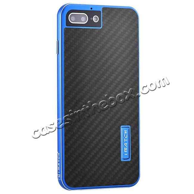wholesale Deluxe Metal Aluminum Frame Carbon Fiber Back Case Cover For iPhone 8 4.7 inch - Blue&Black