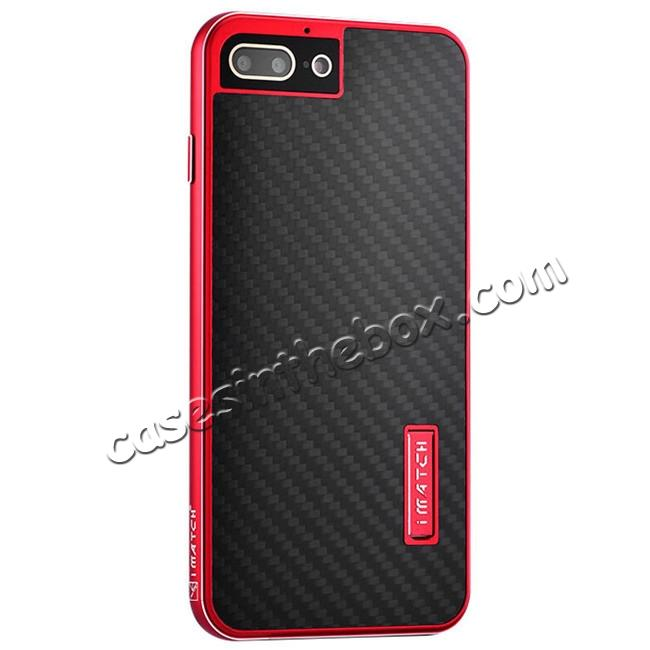 wholesale Deluxe Metal Aluminum Frame Carbon Fiber Back Case Cover For iPhone 8 4.7 inch - Red&Black