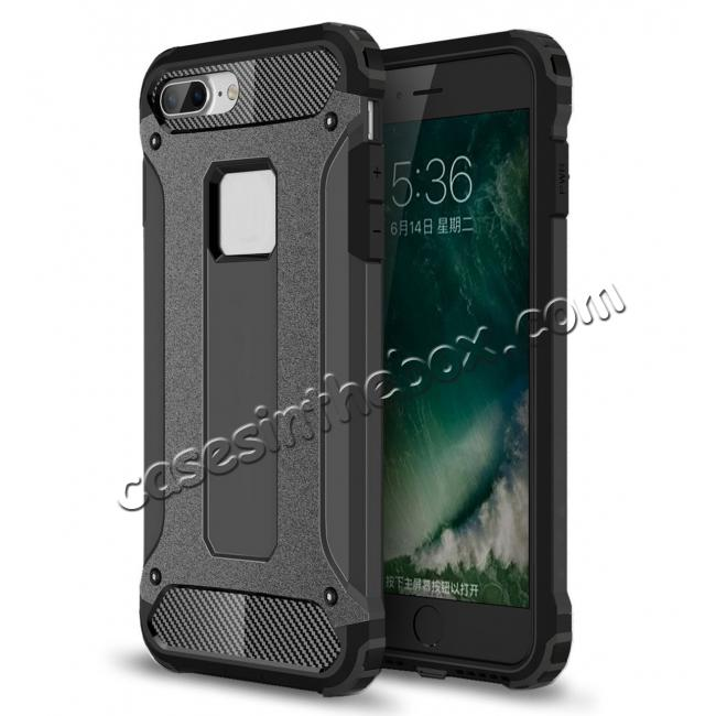 wholesale Dustproof Dual-layer Hybrid Armor Protective Case For Apple iPhone 8 Plus 5.5inch - Black