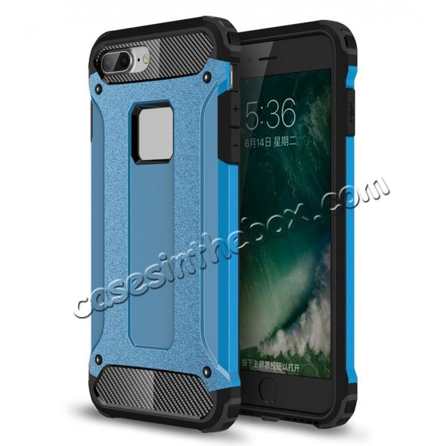 wholesale Dustproof Dual-layer Hybrid Armor Protective Case For Apple iPhone 8 Plus 5.5inch - Blue