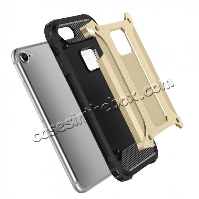 discount Dustproof Dual-layer Hybrid Armor Protective Case For Apple iPhone 8 Plus 5.5inch - Gold