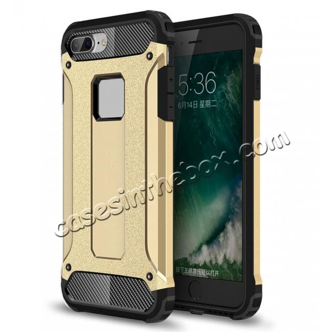 wholesale Dustproof Dual-layer Hybrid Armor Protective Case For Apple iPhone 8 Plus 5.5inch - Gold