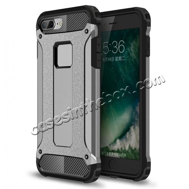 wholesale Dustproof Dual-layer Hybrid Armor Protective Case For Apple iPhone 8 Plus 5.5inch - Gray