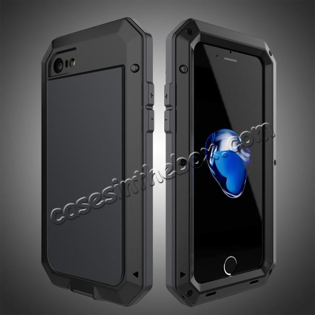 wholesale Full-Body Aluminum Metal Cover & Tempered Glass Screen Protector Case for iPhone 8 - Black