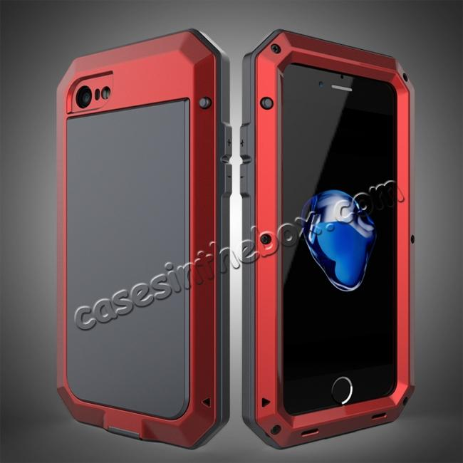 wholesale Full-Body Aluminum Metal Cover & Tempered Glass Screen Protector Case for iPhone 8 - Red