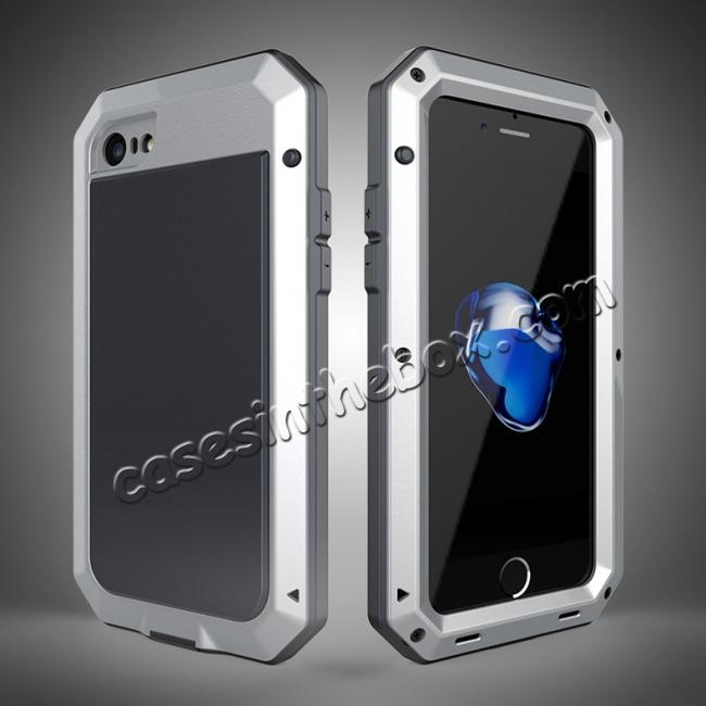 wholesale Full-Body Aluminum Metal Cover & Tempered Glass Screen Protector Case for iPhone 8 - Silver
