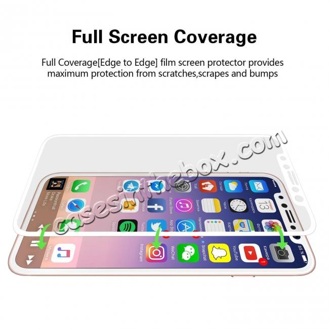 top quality Full Coverage 4D Curve Tempered Glass Film Screen Protector for iPhone X - White
