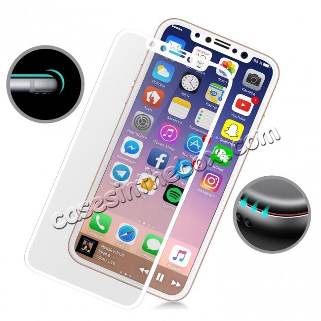 discount Full Coverage 4D Curve Tempered Glass Film Screen Protector for iPhone X - White