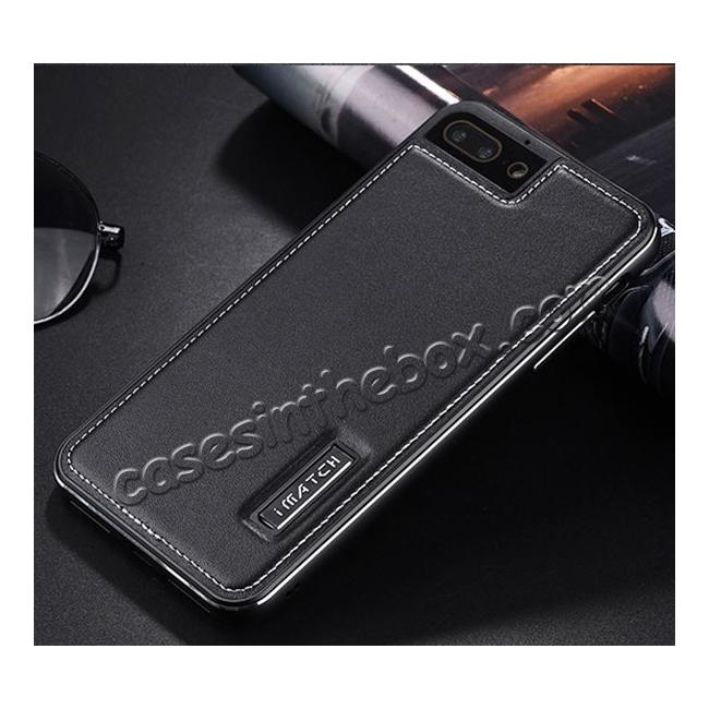 discount Genuine Leather Back+Aluminum Metal Bumper Case Cover For iPhone 8 Plus 5.5 inch - Black