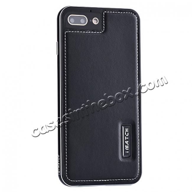wholesale Genuine Leather Back+Aluminum Metal Bumper Case Cover For iPhone 8 Plus 5.5 inch - Black