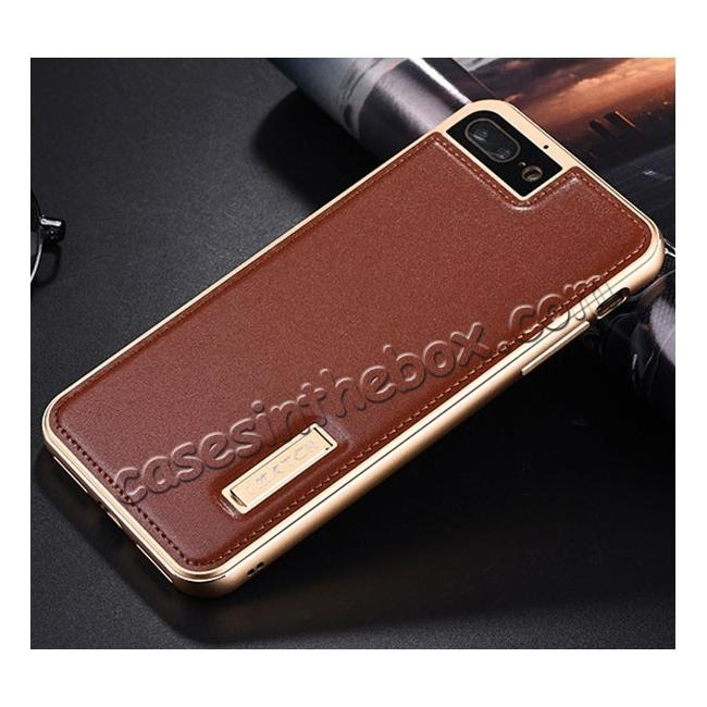 discount Genuine Leather Back+Aluminum Metal Bumper Case Cover For iPhone 8 Plus 5.5 inch - Gold&Brown