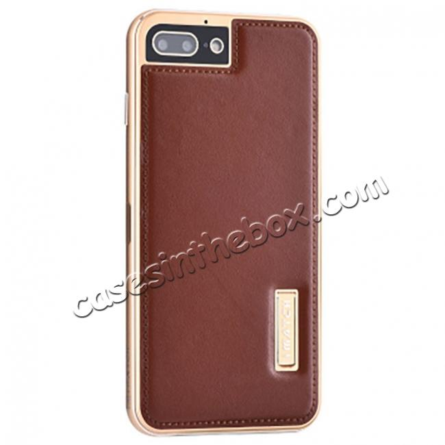 wholesale Genuine Leather Back+Aluminum Metal Bumper Case Cover For iPhone 8 Plus 5.5 inch - Gold&Brown