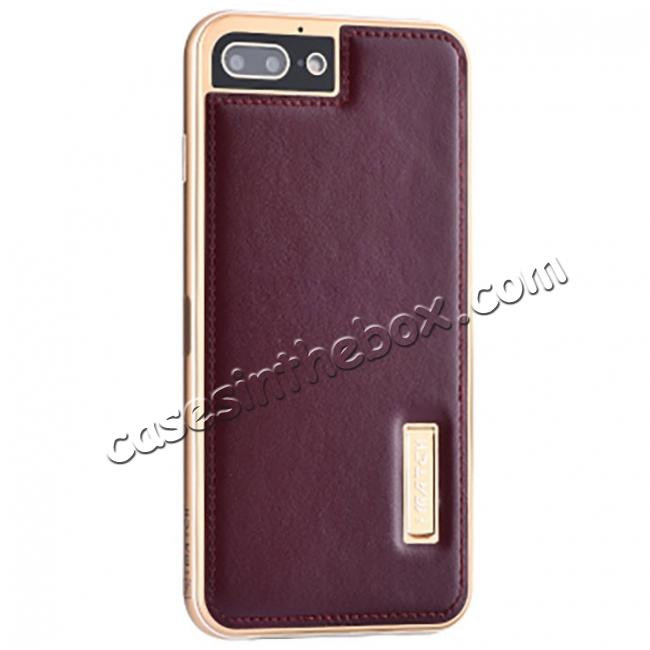 wholesale Genuine Leather Back+Aluminum Metal Bumper Case Cover For iPhone 8 Plus 5.5 inch - Gold&Wine Red