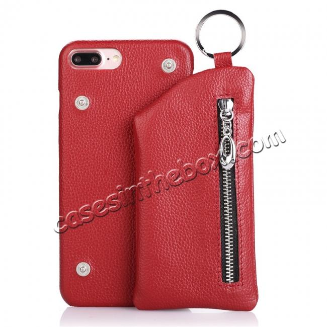 wholesale Genuine Leather Dual Zipper Wallet Holder Case Cover For iPhone 8 4.7-inch - Red