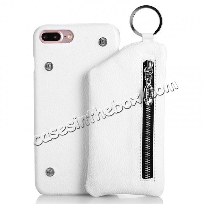 wholesale Genuine Leather Dual Zipper Wallet Holder Case Cover For iPhone 8 4.7-inch - White