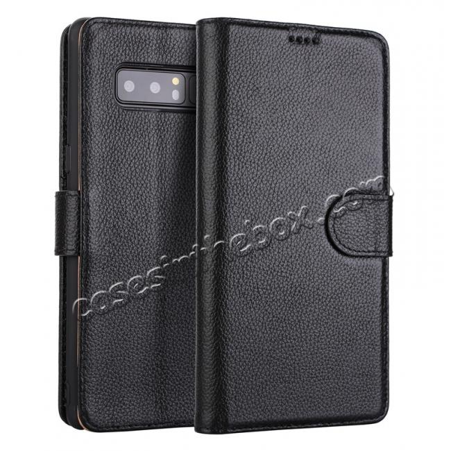 wholesale Genuine Leather Flip Card Slot Wallet Case For Samsung Galaxy Note 8 - Black