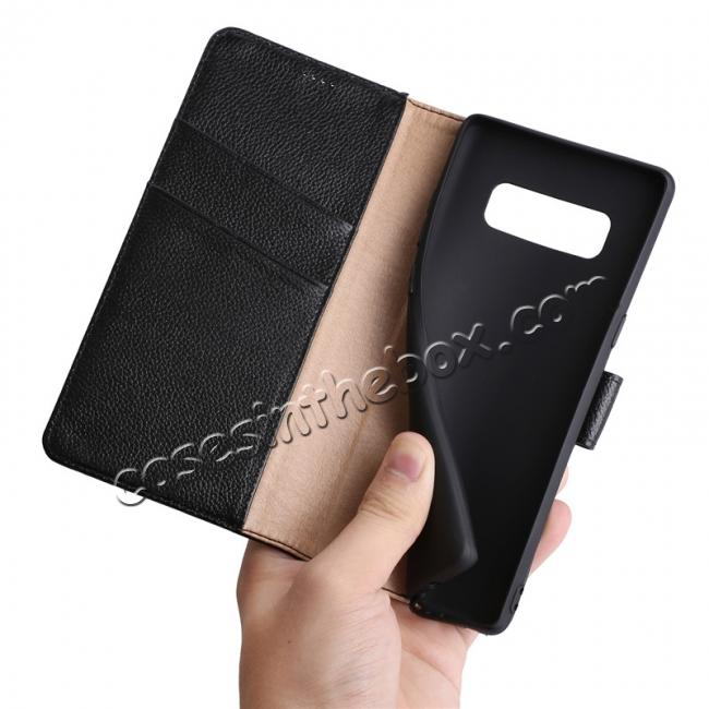 high quanlity Genuine Leather Flip Card Slot Wallet Case For Samsung Galaxy Note 8 - Black