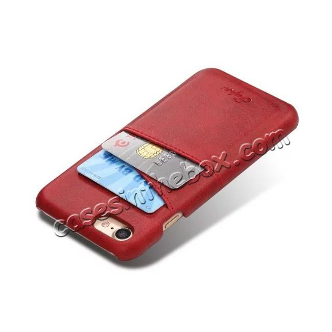 cheap High Quality Leather Back Case with Card Slots for iPhone 8 4.7 inch - Red