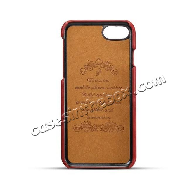 discount High Quality Leather Back Case with Card Slots for iPhone 8 4.7 inch - Red