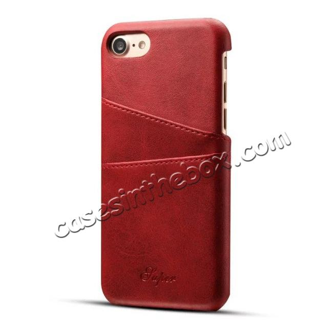wholesale High Quality Leather Back Case with Card Slots for iPhone 8 4.7 inch - Red