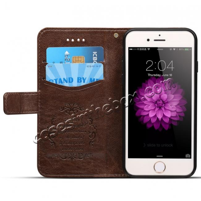 discount High quality PU Leather Floral Print Magnetic Stand Leather Case for iPhone 8 4.7 inch - Brown