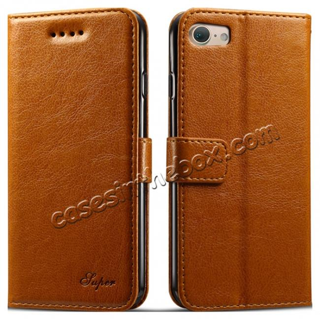 wholesale High quality PU Leather Floral Print Magnetic Stand Leather Case for iPhone 8 4.7 inch - Brown