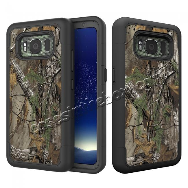 wholesale Hybrid Dual Layer Armor Defender Protective Case Cover For Samsung Galaxy S8 Active - Camo Tree
