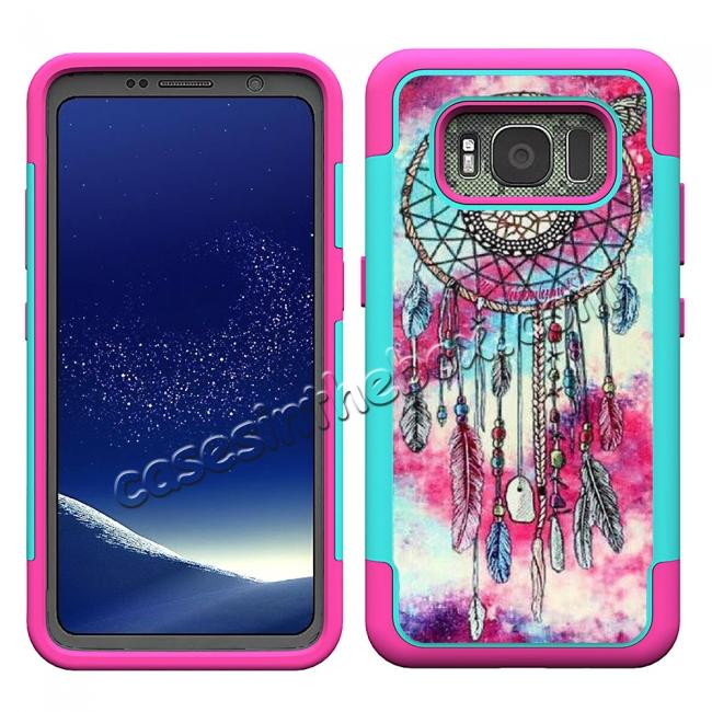discount Hybrid Dual Layer Armor Defender Protective Case Cover For Samsung Galaxy S8 Active - Dream Catcher