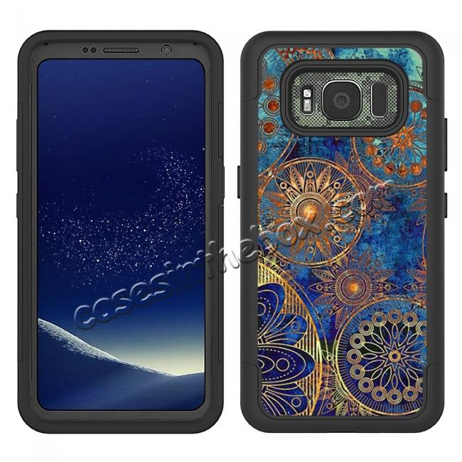 discount Hybrid Dual Layer Armor Defender Protective Case Cover For Samsung Galaxy S8 Active - Gear Wheel