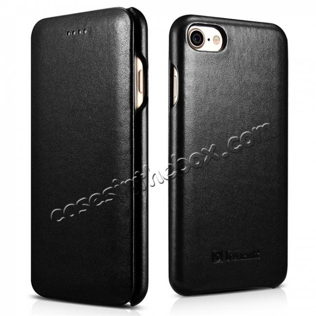 wholesale ICARER Curved Edge Luxury Series Genuine Cowhide Leather Case Cover For iPhone 8 - Black