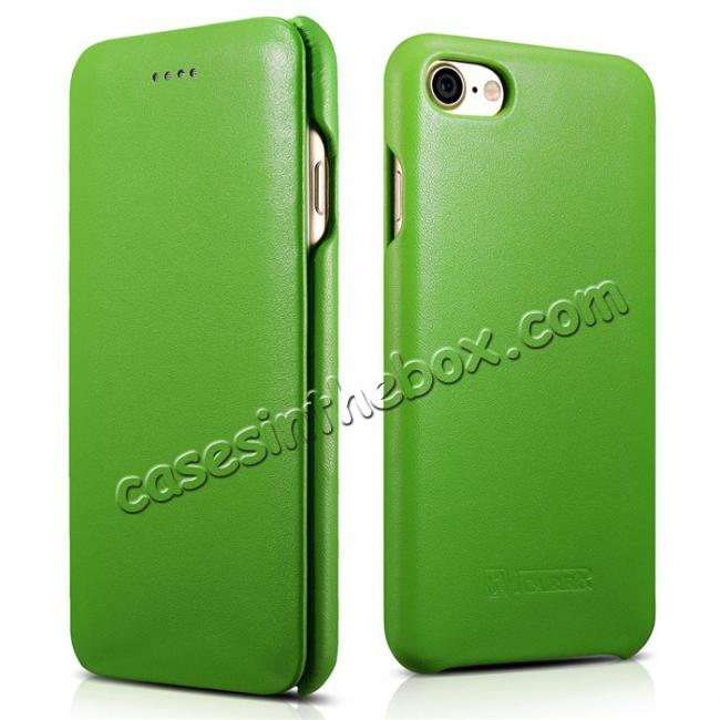 wholesale ICARER Curved Edge Luxury Series Genuine Cowhide Leather Case Cover For iPhone 8 - Green