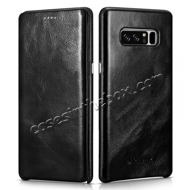 wholesale ICARER Curved Edge Vintage Genuine Leather Flip Case For Samsung Galaxy Note 8 - Black