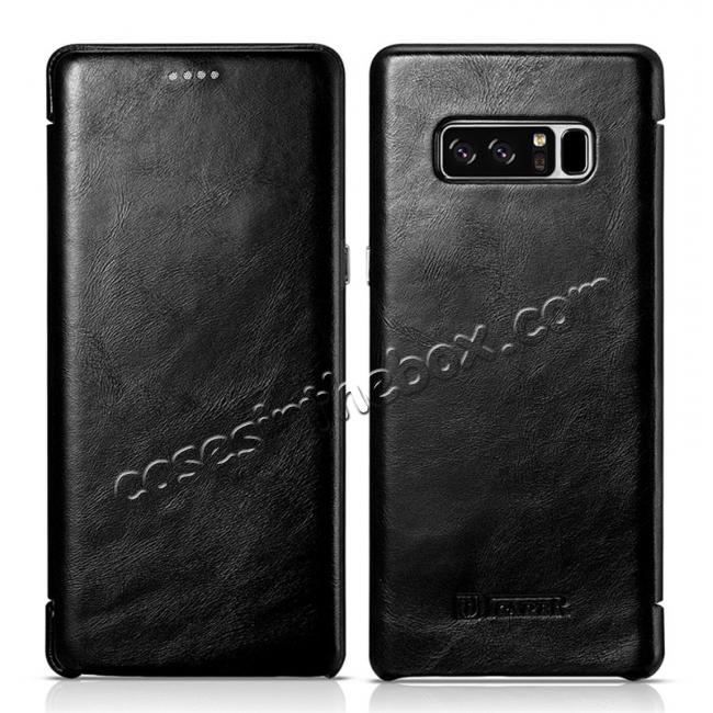 discount ICARER Curved Edge Vintage Genuine Leather Flip Case For Samsung Galaxy Note 8 - Black