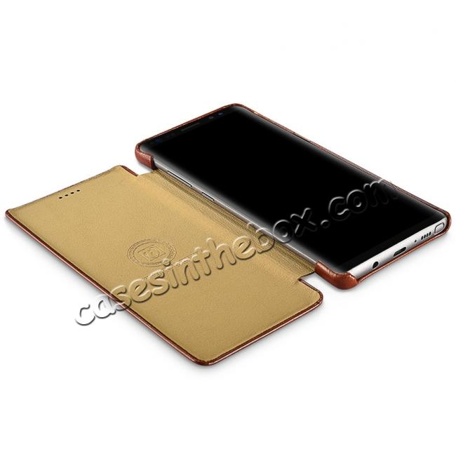 low price ICARER Curved Edge Vintage Genuine Leather Flip Case For Samsung Galaxy Note 8 - Black