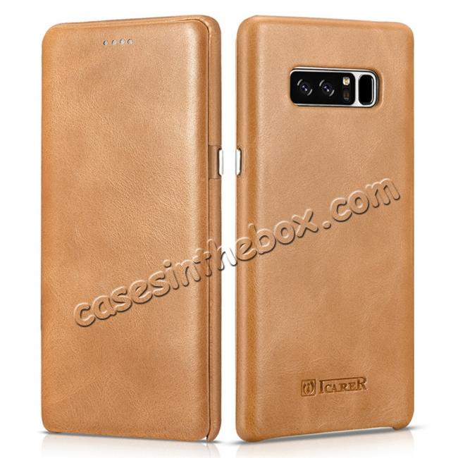 wholesale ICARER Curved Edge Vintage Genuine Leather Flip Case For Samsung Galaxy Note 8 - Khaki