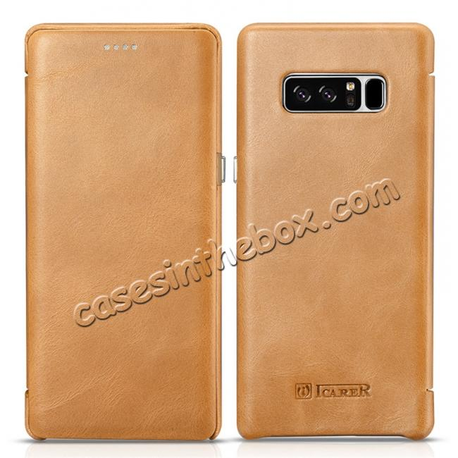 discount ICARER Curved Edge Vintage Genuine Leather Flip Case For Samsung Galaxy Note 8 - Khaki