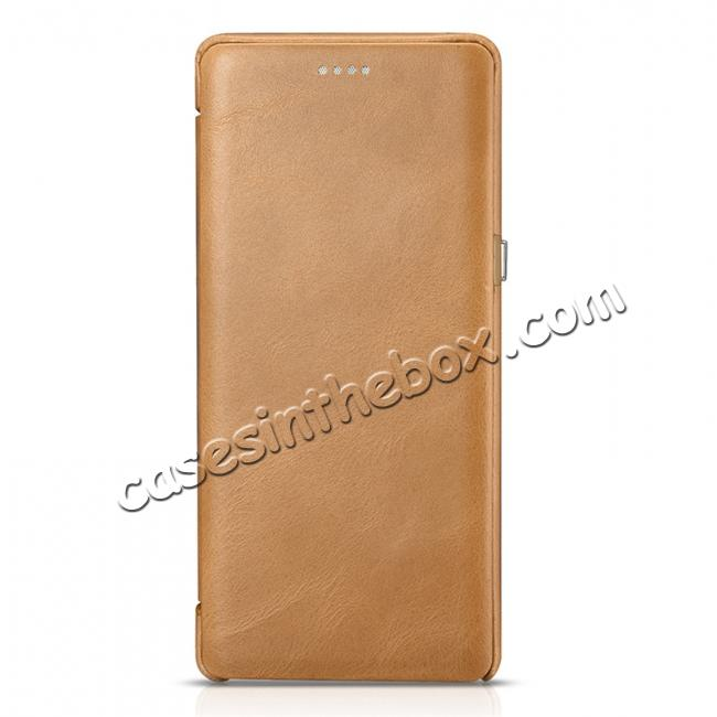 cheap ICARER Curved Edge Vintage Genuine Leather Flip Case For Samsung Galaxy Note 8 - Khaki