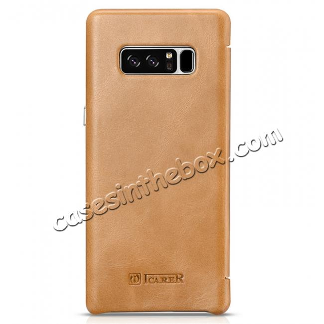 top quality ICARER Curved Edge Vintage Genuine Leather Flip Case For Samsung Galaxy Note 8 - Khaki