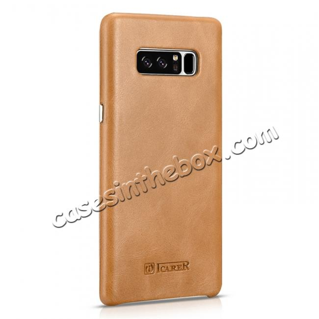 best price ICARER Curved Edge Vintage Genuine Leather Flip Case For Samsung Galaxy Note 8 - Khaki