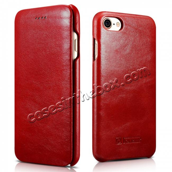 wholesale ICARER Curved Edge Vintage Series Genuine Leather Side Flip Case For iPhone 8 - Red