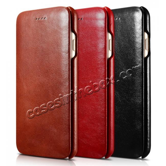 on sale ICARER Curved Edge Vintage Series Genuine Leather Side Flip Case For iPhone 8 - Red