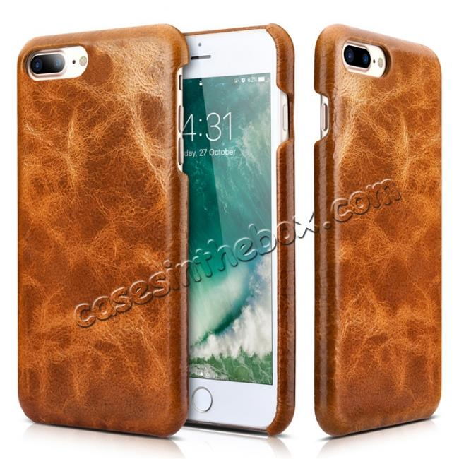 discount ICARER Genuine Oil Wax Leather 2in1 Flip Case + Back Cover For iPhone 8 Plus 5.5 inch - Brown