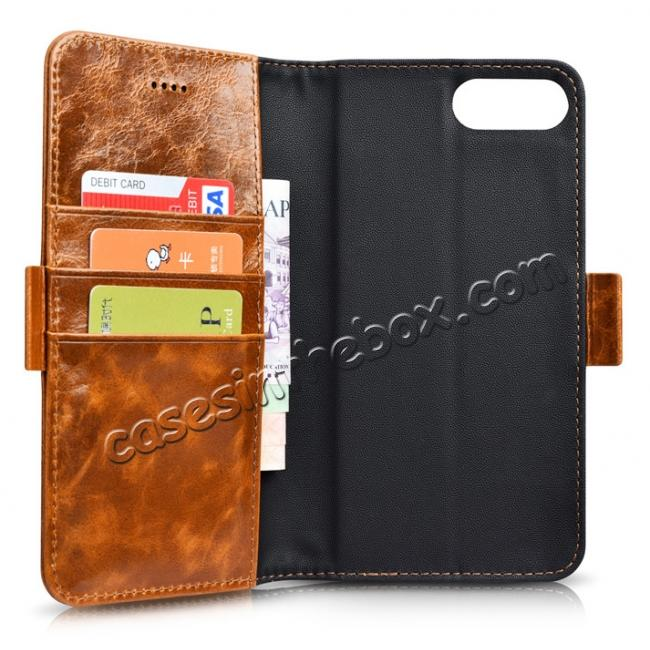 top quality ICARER Genuine Oil Wax Leather 2in1 Flip Case + Back Cover For iPhone 8 Plus 5.5 inch - Brown